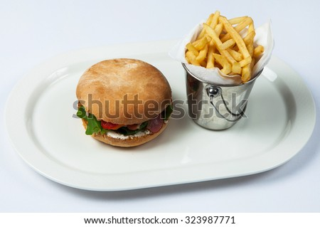 Delicious Hamburger with French Fries. fresh burger in plate - stock photo