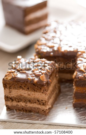 Delicious, healthy mousse cake! Main raw materials: jam, chocolate, butter, nuts
