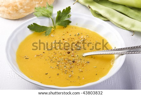 Delicious, healthy pumpkin soup in a white dish. - stock photo