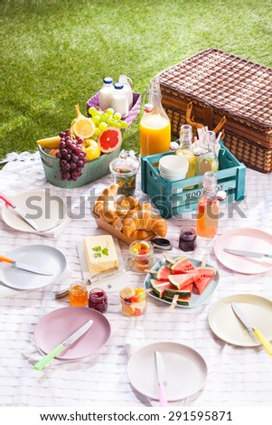 Delicious healthy summer picnic on the grass with a bowl of fresh tropical fruit, croissants, butter, sliced watermelon and assorted fruit juice in bottles alongside a wicker hamper - stock photo