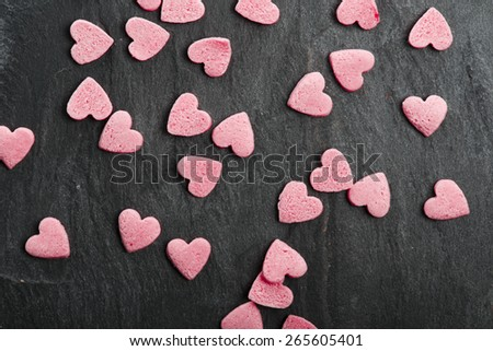 Delicious heart shaped cookies handmade for love season - stock photo