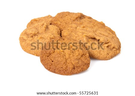 Delicious home baked cookies over white background