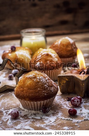 delicious home-cooked fragrant fresh baked muffins - stock photo