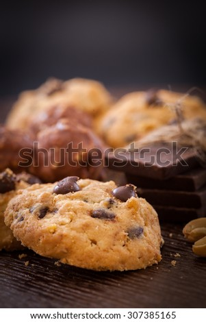Delicious home made chocolate cookies - stock photo