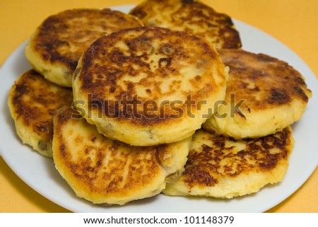 Delicious homemade cheese pancakes close-up - stock photo