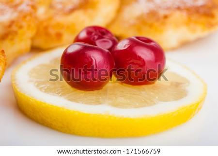 Delicious homemade cheese pancakes closeup - stock photo