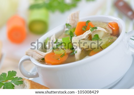 Delicious homemade chicken soup - stock photo