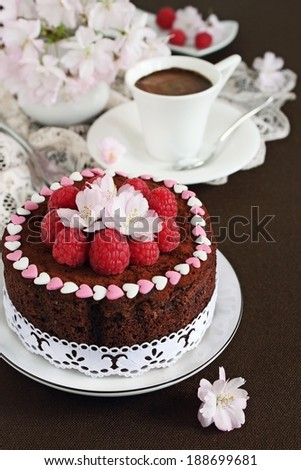 Delicious homemade chocolate cake decorated with fresh raspberry topping