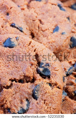 delicious homemade chocolate chip cookies as background . - stock photo