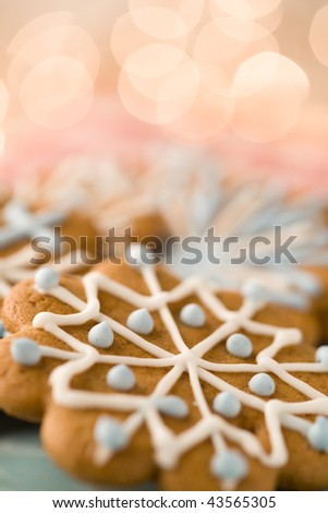 Delicious homemade Christmas gingerbread cookies - stock photo