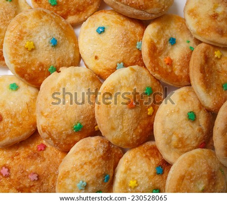 Delicious homemade cookies. View from above. Close-up. - stock photo