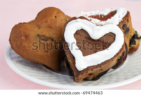 Delicious Homemade Heart Shaped Blueberry Muffins - stock photo
