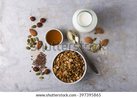 Delicious homemade nutty granola with a bottle of milk  - stock photo