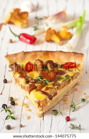 Delicious homemade pie with chanterelle mushrooms and vegetables. - stock photo