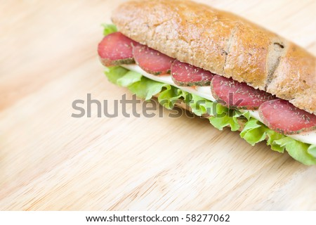 Delicious  homemade sandwich  with space for your text or design - stock photo