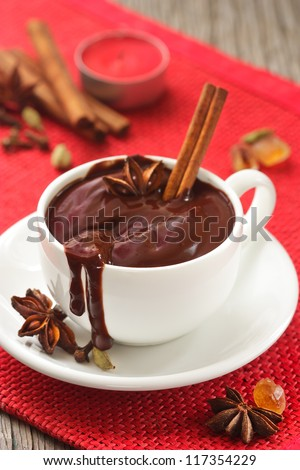 Delicious hot chocolate with spices on a white cup.