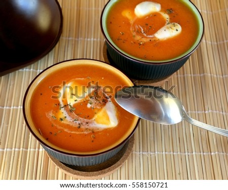 Delicious Hot Creamy Butternut Squash Soup On A Bowl. Organic Vegetarian Food.