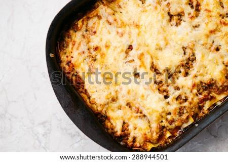 Delicious Hot Lasagna Top View - stock photo