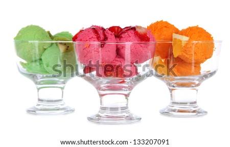Delicious ice cream isolated on white - stock photo