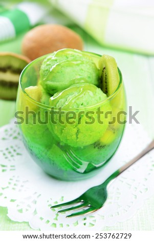 Delicious ice cream on table close-up - stock photo