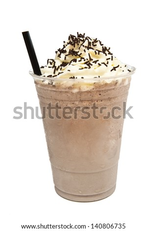 delicious in summer, iced chocolate with cream - stock photo