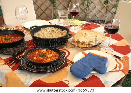 Delicious indian lunch in the terrace - stock photo