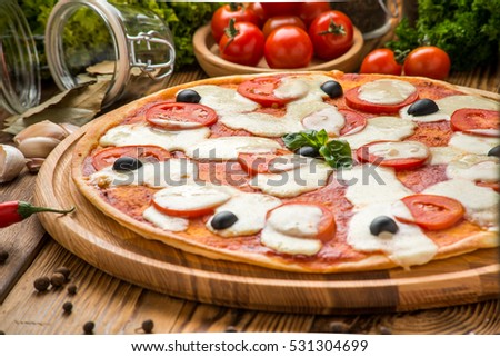 delicious italia pizza in a restaurant