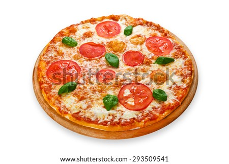 Delicious italian Margherita pizza with tomatoes and mozarella - thin pastry crust at white background on wooden desk - stock photo