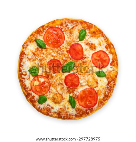 Delicious italian Margherita pizza with tomatoes and mozarella - thin pastry crust at white background, above view - stock photo