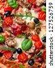Delicious italian pizza close-up - stock photo