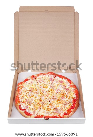 Delicious italian pizza in cardboard box isolated on white with clipping path - stock photo
