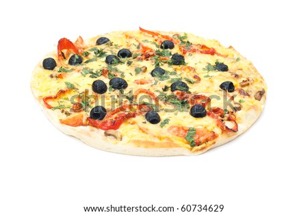 delicious Italian pizza isolated on a white background. studio photography - stock photo