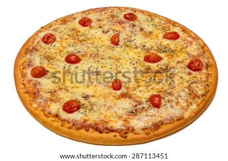 Delicious italian pizza Margherita with tomatoes & cheese isolated on white background