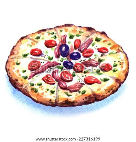Delicious italian pizza over white background - stock photo