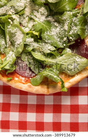 delicious italian pizza top view - stock photo