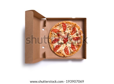 Delicious Italian pizza with ham and tomatoes in box, isolated on white background  - stock photo
