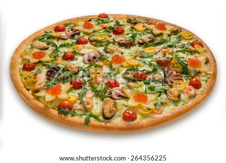 Delicious italian pizza with meat, vegetables & cheese isolated on white background