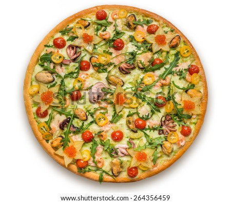Delicious italian pizza with meat, vegetables & cheese isolated on white background - stock photo