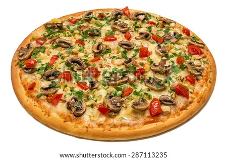 Delicious italian pizza with mushrooms, vegetables & cheese isolated on white background - stock photo