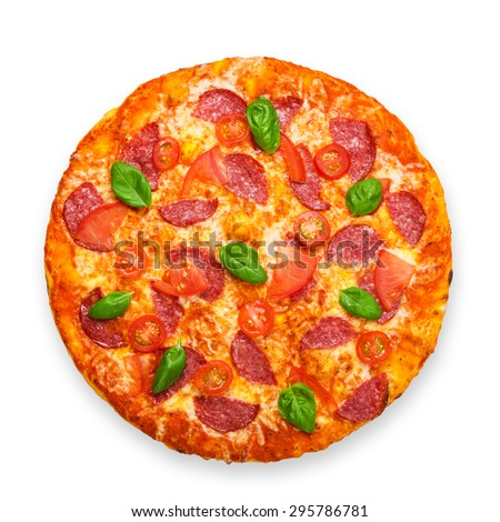 Delicious italian pizza with salami, cherry tomatoes and basil fresh leaves - thin pastry crust at white background - stock photo