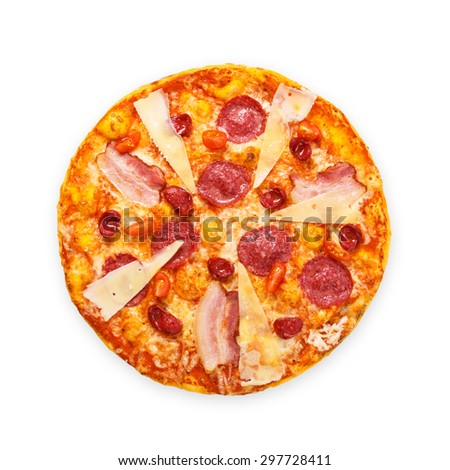 Delicious italian pizza with salami, sausages, bacon, parmesan and cherry tomatoes - thin pastry crust at white background, above view, isolated - stock photo