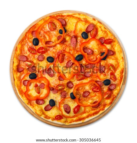Delicious italian pizza with sausages, peppers, cherry tomatoes and black olives - thin pastry crust at wooden round desk isolated at white background, above view - stock photo