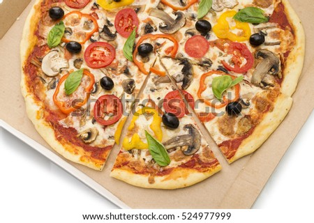 Delicious italian pizzas lifted slice 1 in delivery box Isolated on white background
