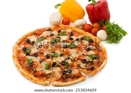 Delicious italian pizzas lifted slice 1 Isolated on white background - stock photo