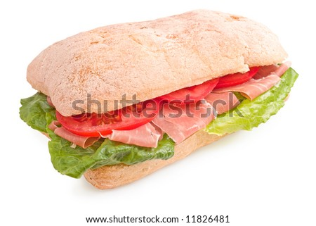 Delicious Italian sandwich with lettuce, prosciutto di Parma and tomatoes on white background - stock photo