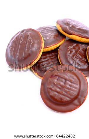 Delicious jaffa cakes with chocolate glaze