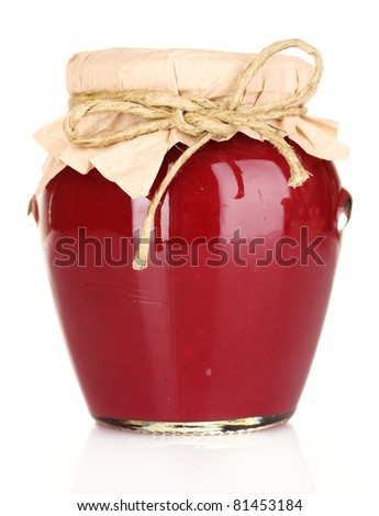 delicious jam in the pot isolated on white - stock photo