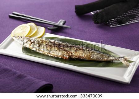 Delicious Japanese food,Grilled Japanese amberjack fish  - stock photo