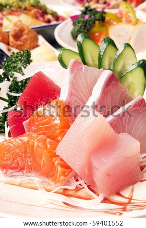 Delicious Japanese food-Sashimi - stock photo