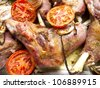 Delicious lamb cooked with tomatoes baked natural - stock photo